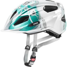 UVEX Quatro - Casque de vélo Enfant - blanc/Bleu pétrole